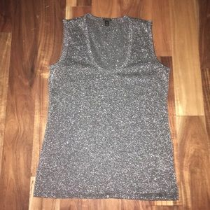 J.Crew Stretchy scoop neck Silver Tank Top sz. XS